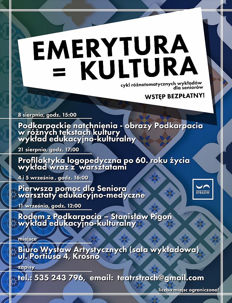 Plakat zajęć w ramach projektu Emerytura=Kultura